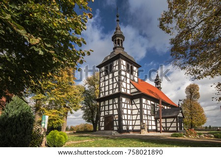 Old wooden church in Jedlec, Pleszew County, Greater Poland Voivodeship, Poland #758021890