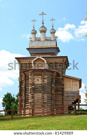 Old wooden church in state museum park Kolomenskoye, Moscow, Russia.