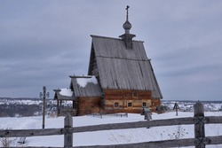 Old wooden church with name Resurrection of Chris Cathedral on the Levitan hill. Russia, Ivanovo oblast, Plyos.