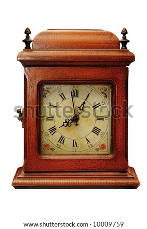 Old wooden clock on a white background