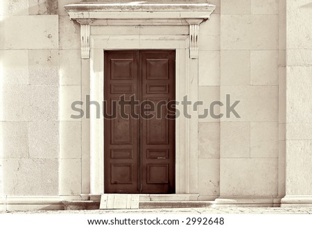 Old wooden closed church doors