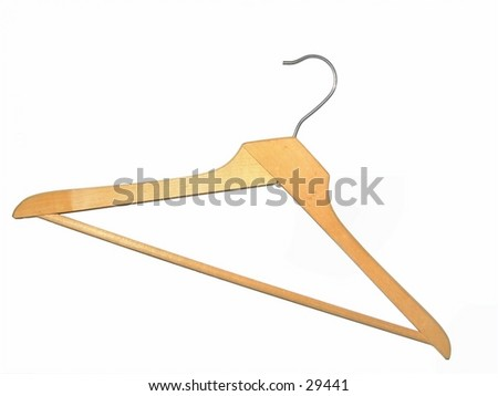 Old wooden coat hanger isolated on white.