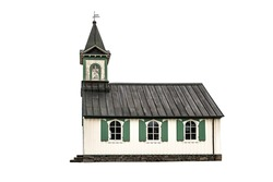 old wooden common scandinavian church isolated on white