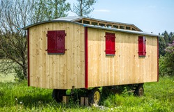 old wooden construction trailer - photo