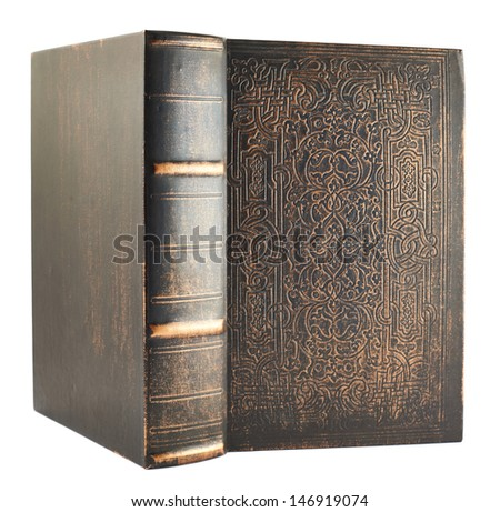 Old wooden cover opened book isolated over white background