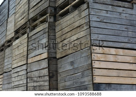 Old wooden crates for apple storage #1093588688