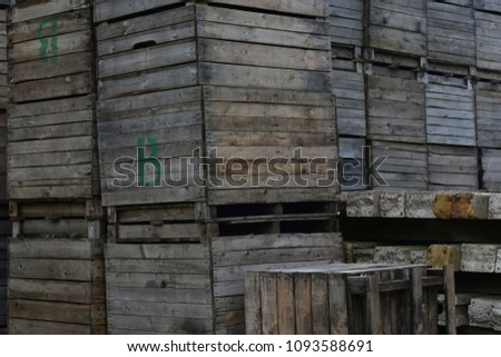 Old wooden crates for apple storage #1093588691