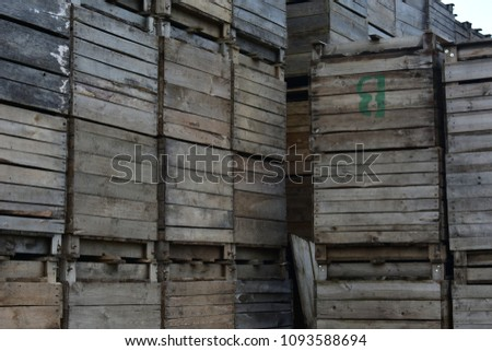 Old wooden crates for apple storage #1093588694