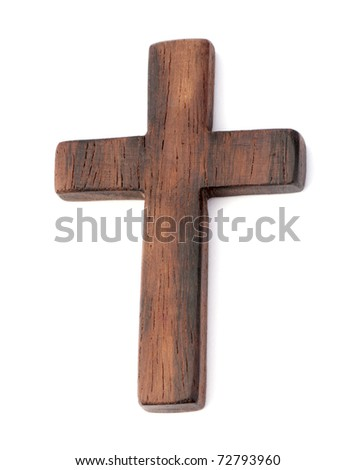old wooden cross on white background