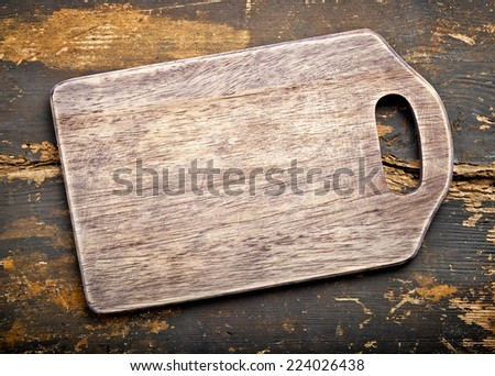 old wooden cutting board, top view