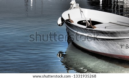 Old wooden dinghy isolated