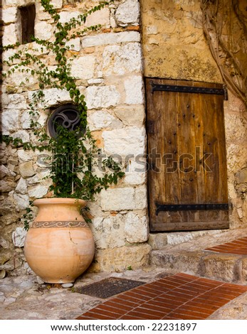 Old wooden door and pot with plant in the medieval city of Exe, France, which is a fortress, built on cliff-side hill