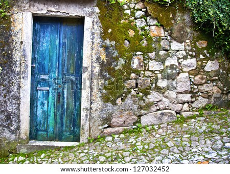 Old wooden door in stone wall. Portugal. Sintra