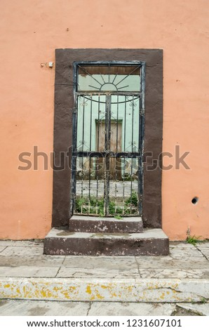 old wooden door with rusty bars on a wall old and broken. background for texts, space for texts. #1231607101