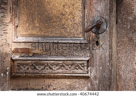 old wooden doors with aged paint texture
