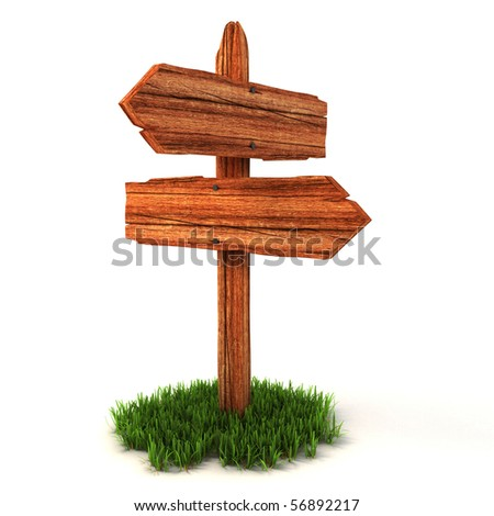 old wooden empty signpost on grass isolated on white background
