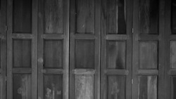 old wooden entrance door : black and white tone