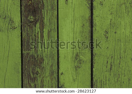 Old wooden fence. Green