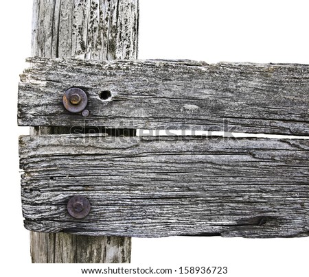 Old wooden fence post on country farm/Old wooden fence post