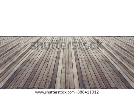 Old wooden flooring with white isolated space for design