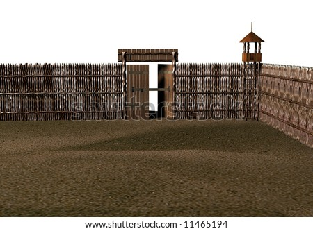 Old wooden fort on a white background 3d image stock for Old wooden forts