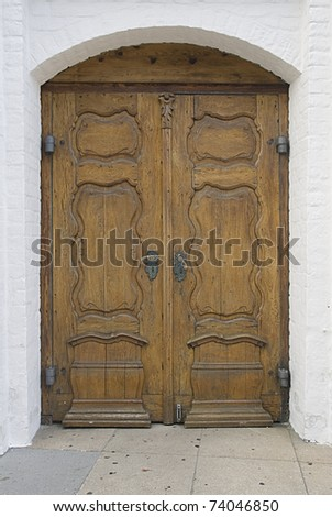 Old wooden gate of a medieval house