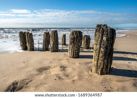 Old wooden groyne in the North Sea. Stock photo ©