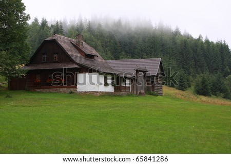 old wooden house at Solan, Natural Protected Area Beskydy, Czech republic - stock photo