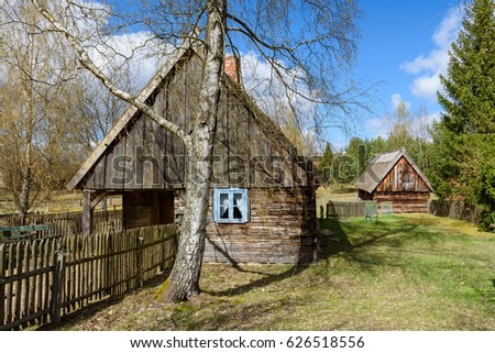Old wooden house in Kashubian Ethnographic Park in Wdzydze Kiszewskie. Poland. #626518556
