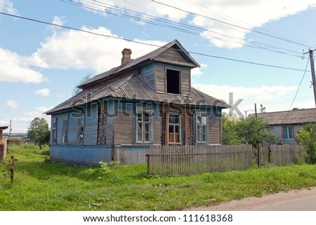 Old wooden house in russian village.  Novgorod region, Russia. #111618368