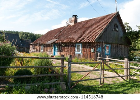 Old wooden house in village. Kaliningrad region. Russia