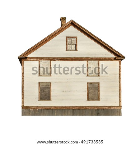 Old wooden house isolated on white #491733535