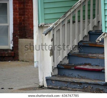 old wooden house steps with...