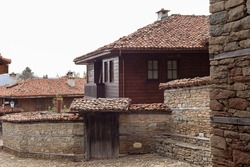 Old wooden houses in Zheravna (Jeravna). The village is an architectural reserve of Bulgarian National Revival period (18th and 19th century)