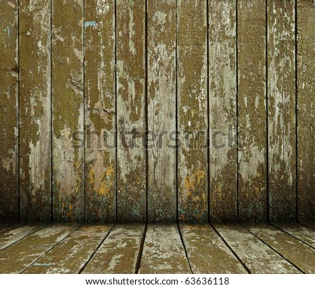 Old wooden interior from painted planks - stock photo