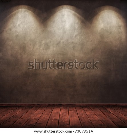 old wooden interior room with three light spots.