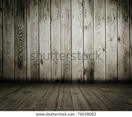 old wooden interior, vintage background - stock photo