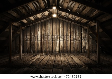 old wooden interior with light bulb - stock photo