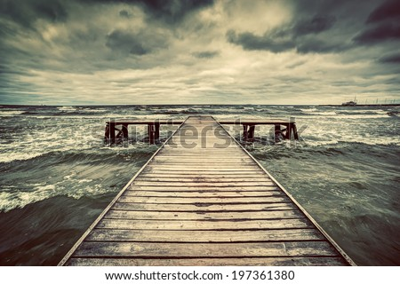old wooden jetty  pier  during...