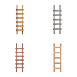Old wooden ladder against the wall