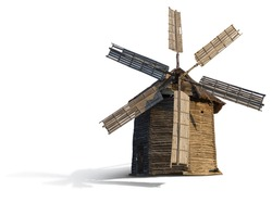 Old wooden mill on a white background