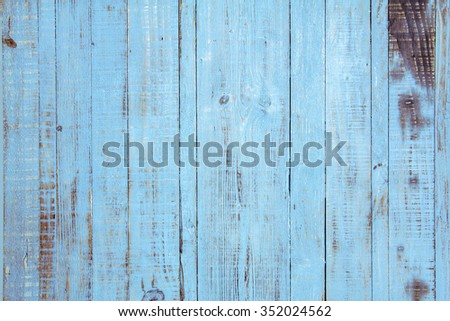 Old wooden painted light blue rustic background, paint peeling
