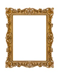 Old wooden picture frame isolated on white background
