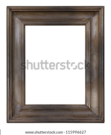 Old wooden picture frame with clipping path