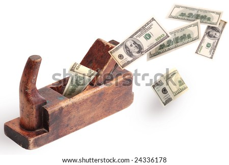 old wooden plane and money on a white background