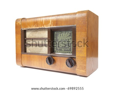 Old wooden radio isolated on white - stock photo