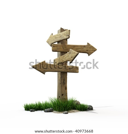 Old wooden road sign