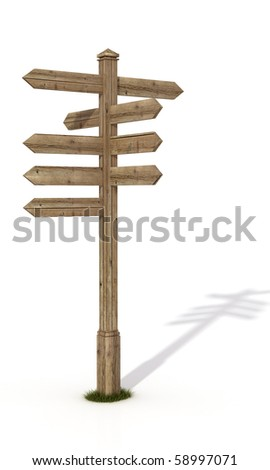 old wooden road sign post isolated on white - rendering