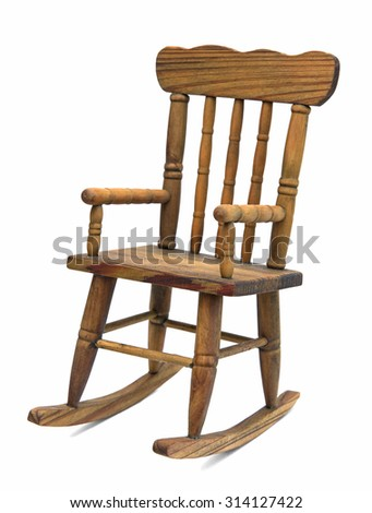 Old Wooden Rocking Chair On White Background Stock Photo 314127422