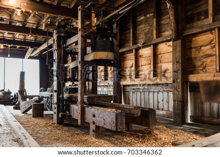 old wooden sawmill along the...